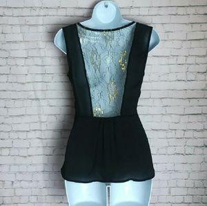 MARINEBLU black peplum gold lace back blouse